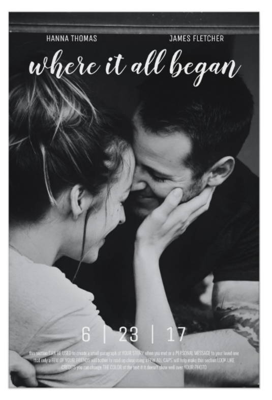 To be a main character in your love story is not a bad idea, right? Be free to put an awesome film title and release date accompanied with your favorite photo, you can create your own love story movie poster to give your partner on special days.