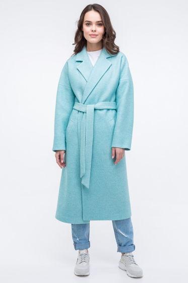 Женское пальто-халат мятного цвета из вареной шерсти
