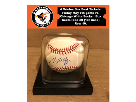 4 Box Seat O's Tickets & Signed Ryan Flaherty Baseball