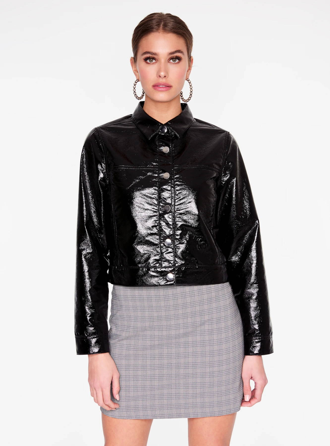 Black Faux Patent Leather Trucker Jacket