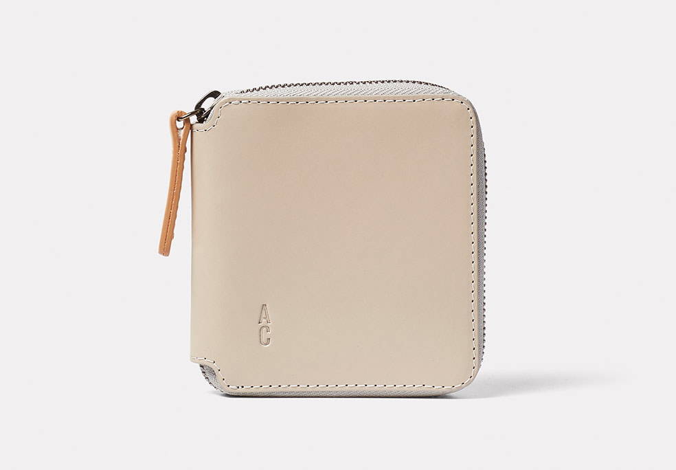 Axel Leather Zip Round Wallet in Grey Front