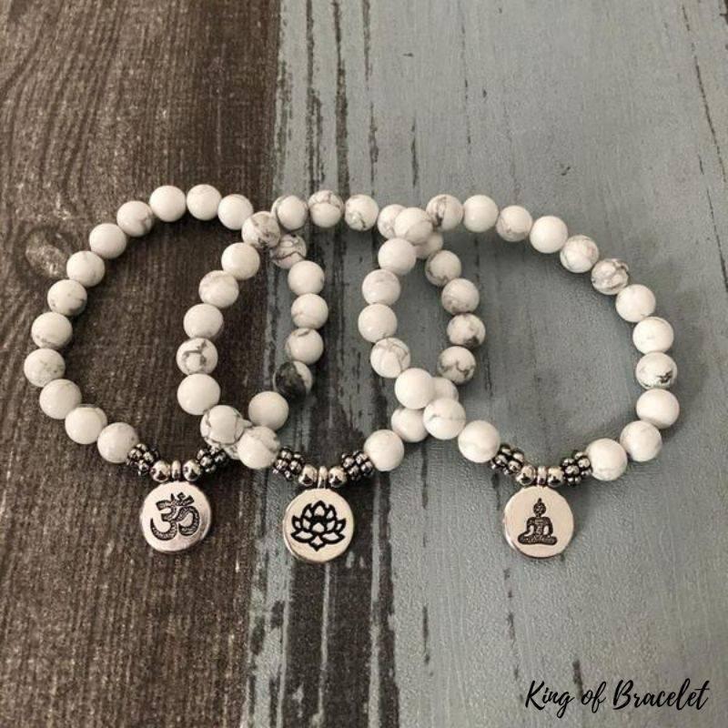 Bracelet Mala en Perles de Howlite - King of Bracelet