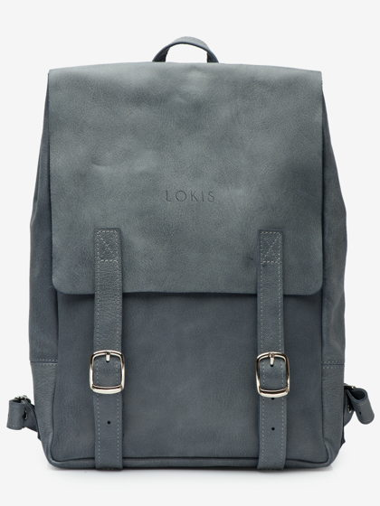 Рюкзак из натуральной кожи, серо-голубого цвета