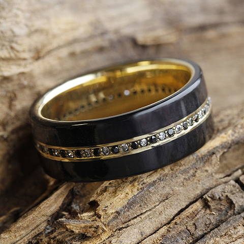 ebony wood wedding band yellow gold diamond