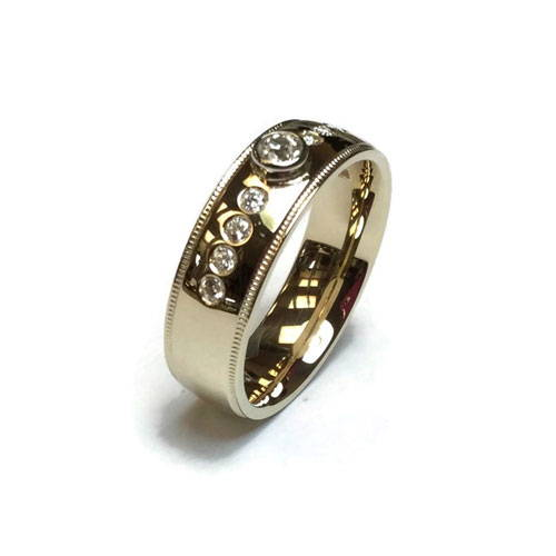 gold ring with small diamonds polished and cleaned