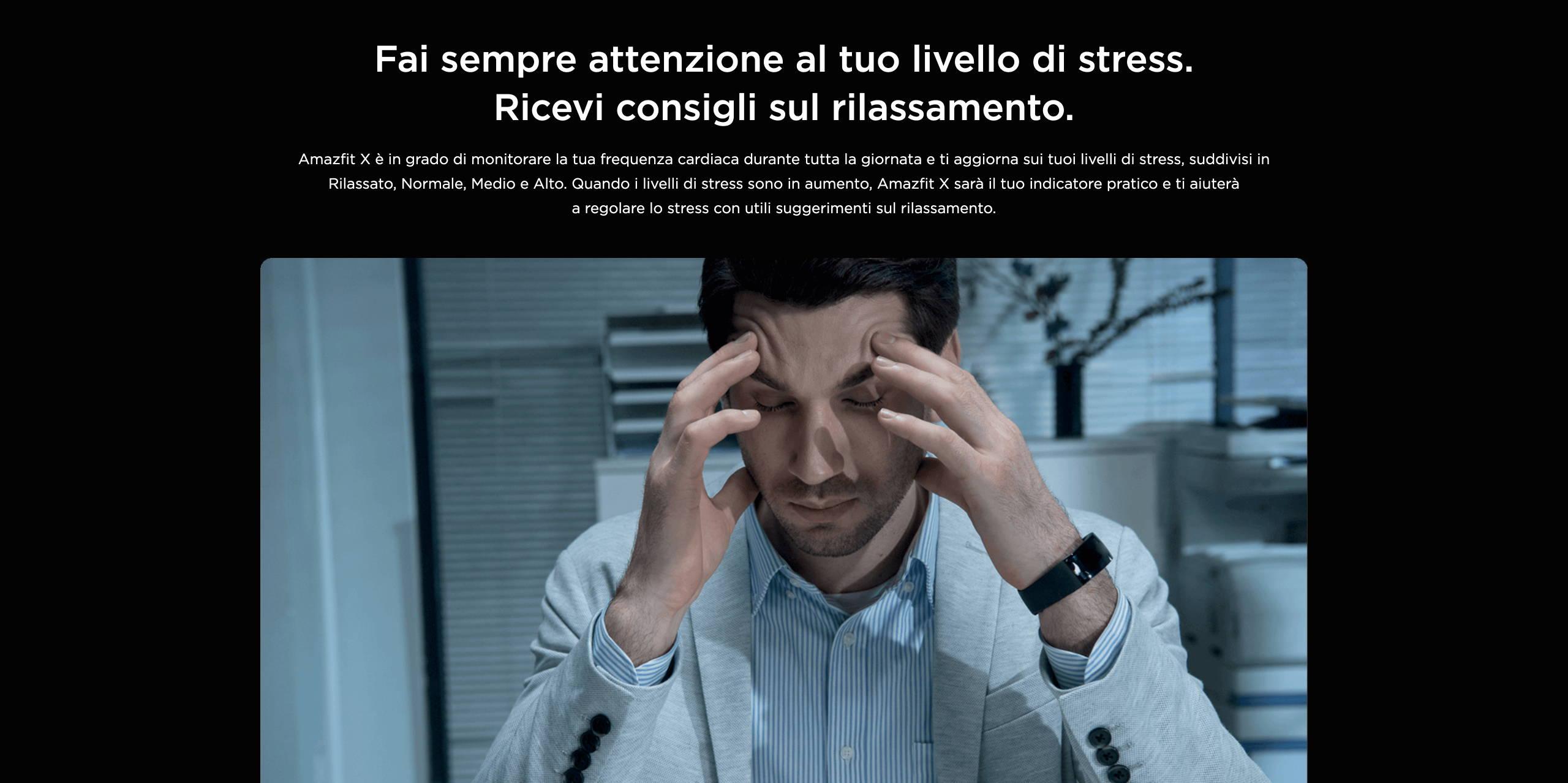 Amazfit X - Fai sempre attenzione al tuo livello di stress. Ricevi consigli sul rilassamento.