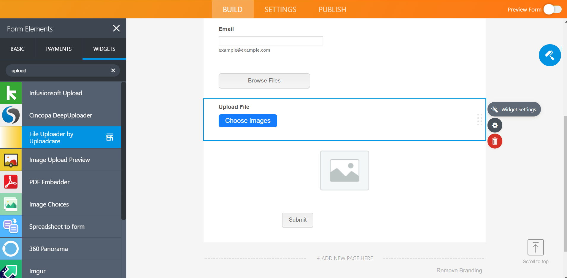 Adding Uploadcare File Uploader to JotForm