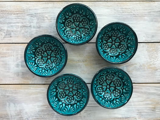 Набор зеленых керамических соусниц (5 шт)