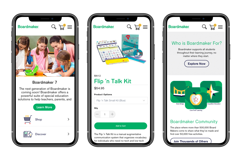 Boardmaker Plus website on mobile devices