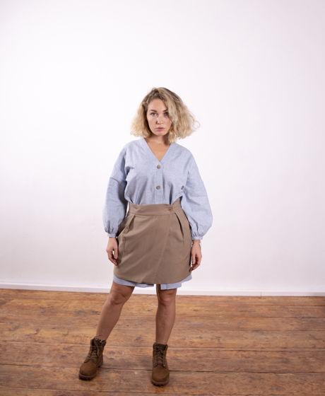 Короткая юбка на запАхе с карманами
