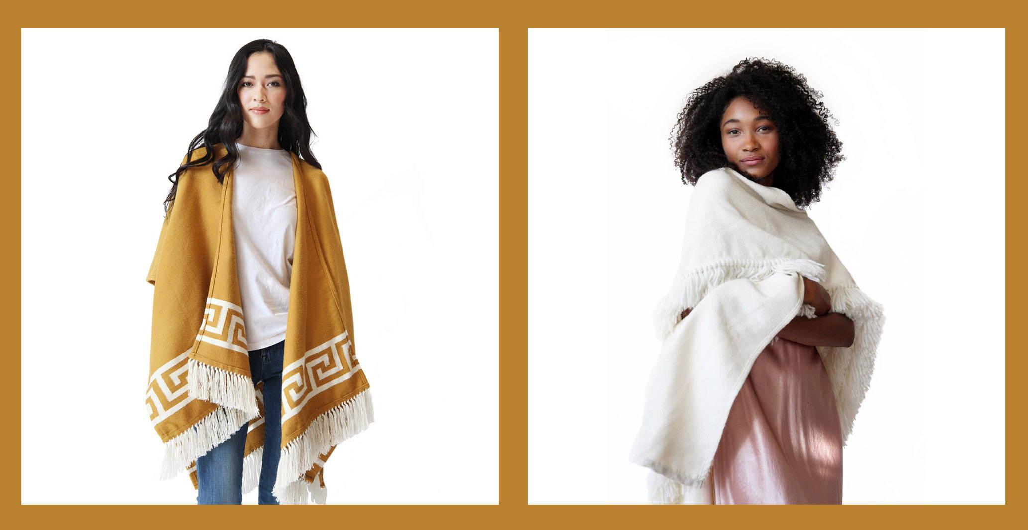 Women wearing Stick & Ball Alpaca Ruana Wraps - Inca Gold & Winter White Fringe