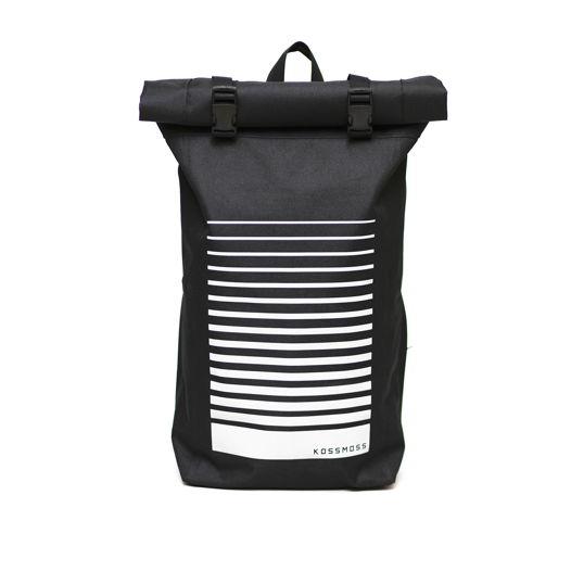 Черный рюкзак со светоотражающим принтом / Black backpack