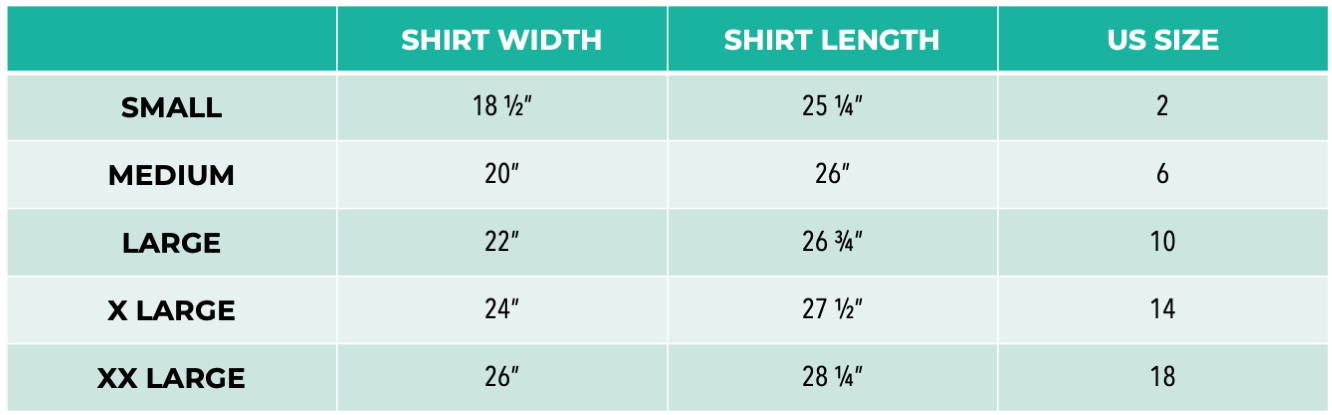 Pet It Forward Women's Tee Sizing Chart