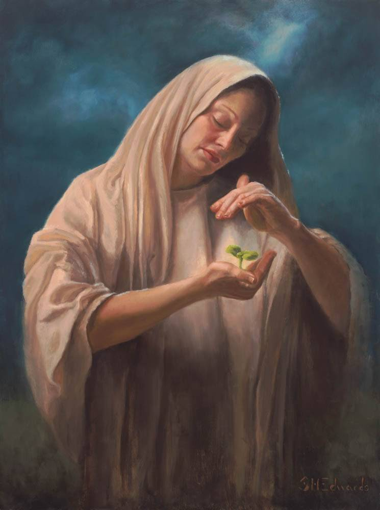 A biblical woman shield a seedling in her hand.