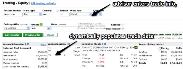 Trade tools prepopulate data based on advisor input.