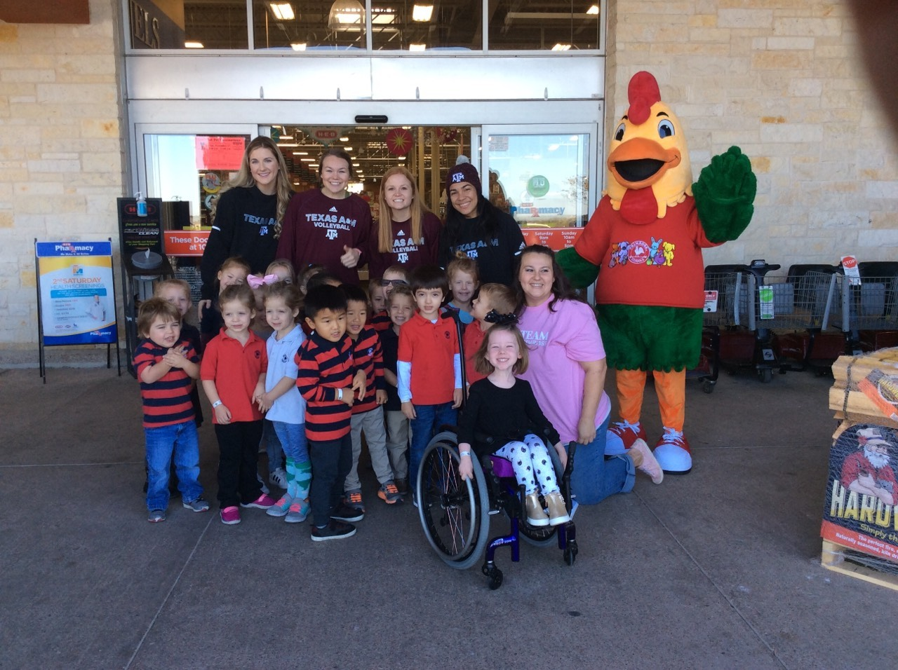 Our Pre-K class out front of HEB with Percy and the A&M Volleyball Team.