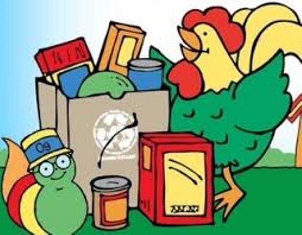An animated Percy the Rooster and Og the Bookworm stand next to a bag of nonperishable groceries in a grocery bag