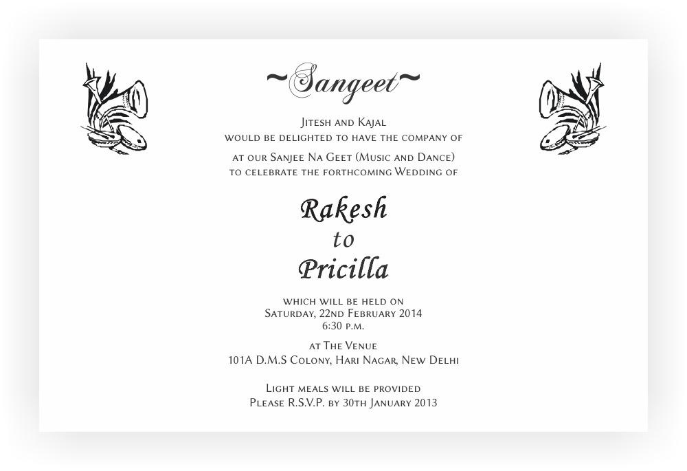 Sangeet Ceremony Invitation Wordings – CHOCOCRAFT