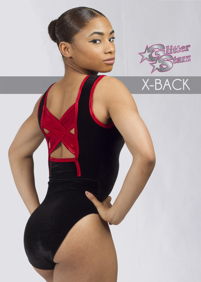 glitterstarz x back cutout black red leotard for gymnastics and cheer