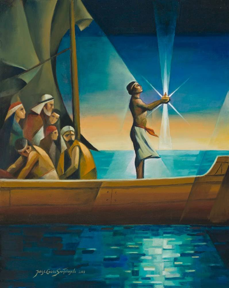 LDS art print featuring a cubsim-style painting of Nephi guiding his family with the Liahona.