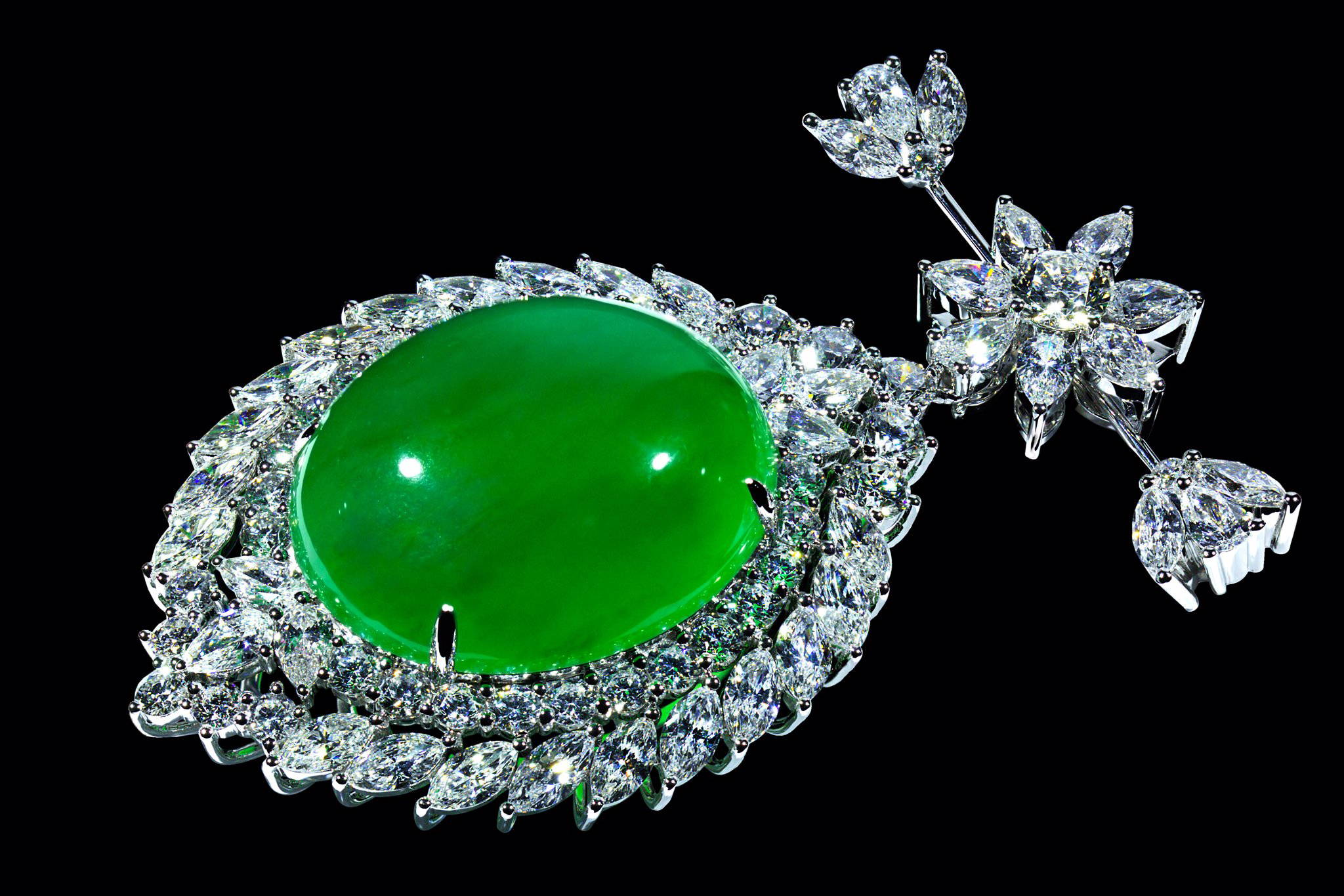 Imperial jade brooch/pendant/hairpin yves lemay jewelry