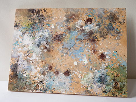"""Untitled (map)"" Painting on Wooden Canvas"