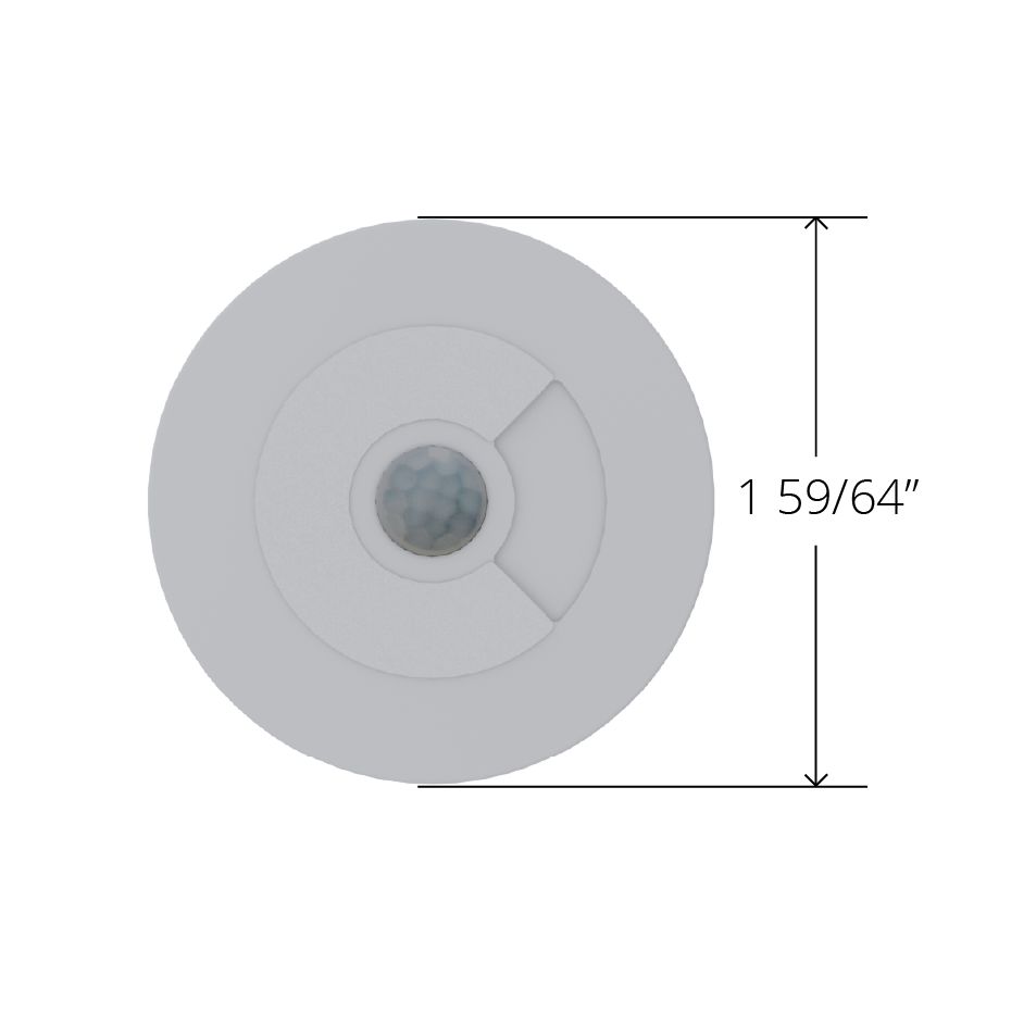 Black Faradite Motion Sensor 360 volt free dry contact 49mm front dimensions