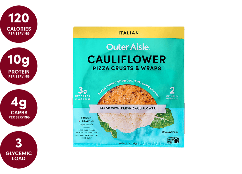 layered cauliflower pizza crusts packages