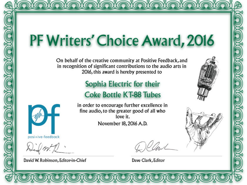 Sophia Electric Patented KT88-ST tubes, 2016 PFO Award Winner, Best high frequency extension, best sound ever made