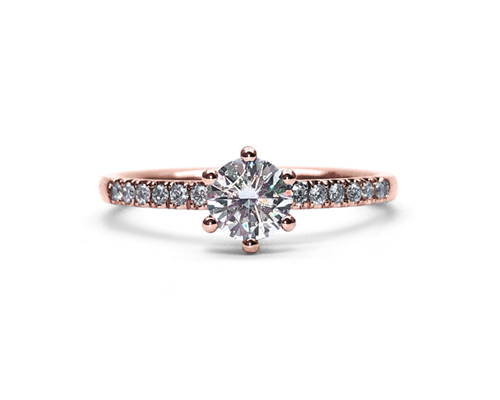 Semi-Eternity in pink gold with a 0.5 ct diamond
