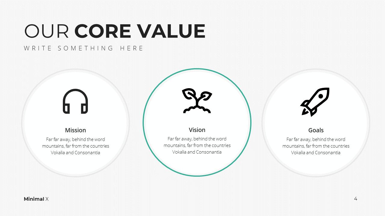 Minimal X  Company Profile Presentation Template Core Values