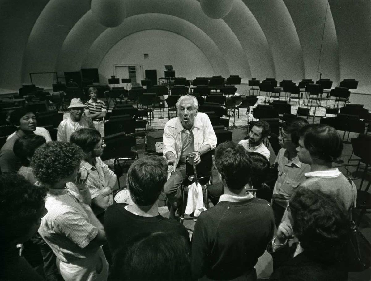 Leonard Bernstein with students at the Hollywood Bowl, c. 1981. <br> Photo credit: Robert Millard/LA Phil