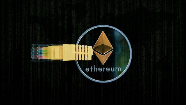 Ethereums logo kombineret med et stik til en computer