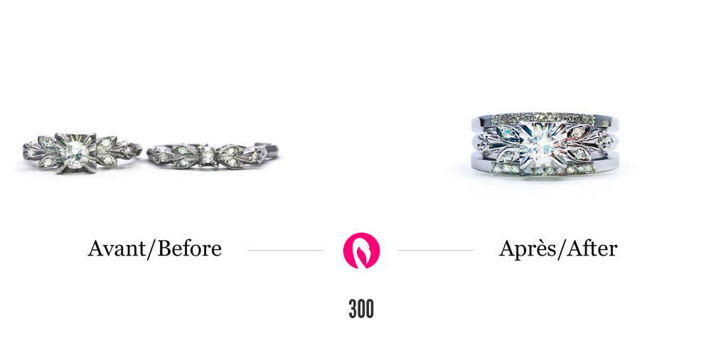 Bijoux en or blanc avec diamants démodés transformés en une bague de fiançailles trois étages en or blanc avec un gros diamant au centre entre deux joncs semi-éternité.