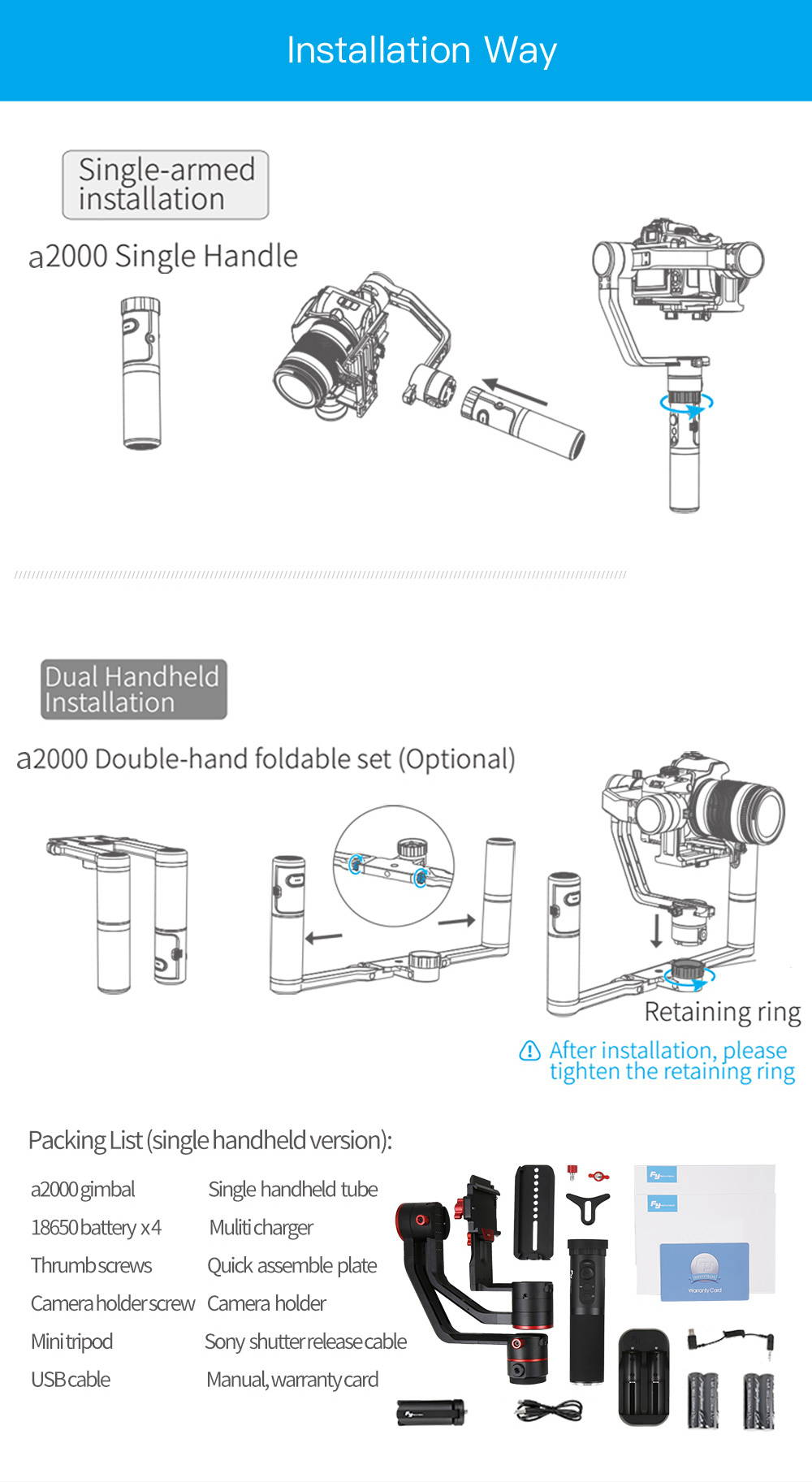 Details zu Feiyu Tech a2000 3-Axis Gimbal Handheld Stabilizer for  on