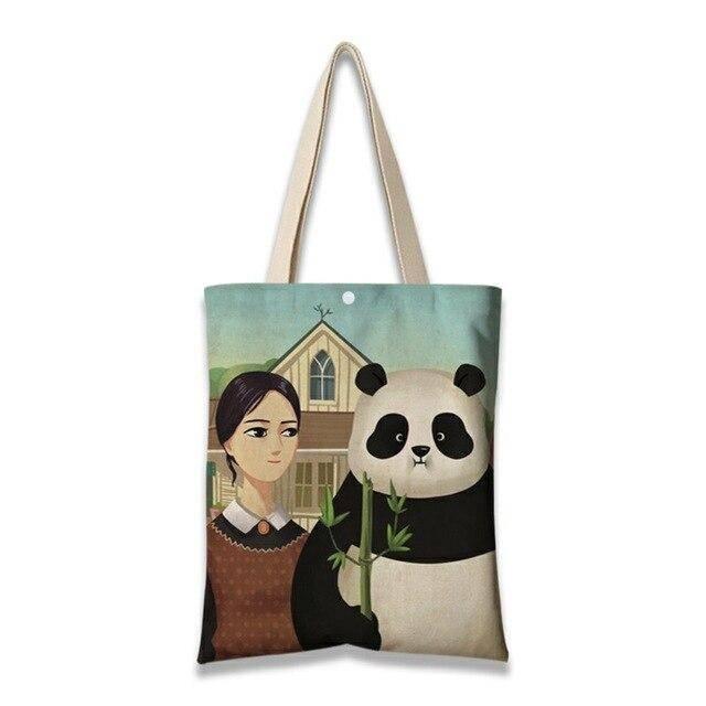 sac a main toile tableau panda qui mange du bambou et fille