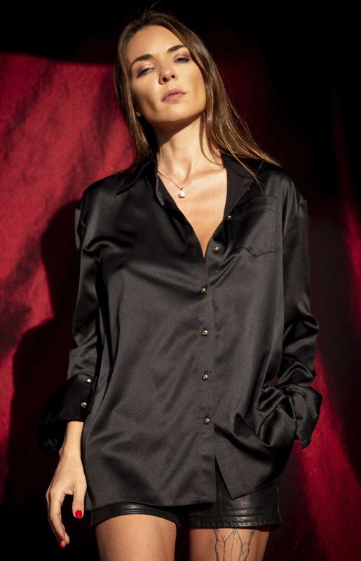 Boyfriend's black silk blouse