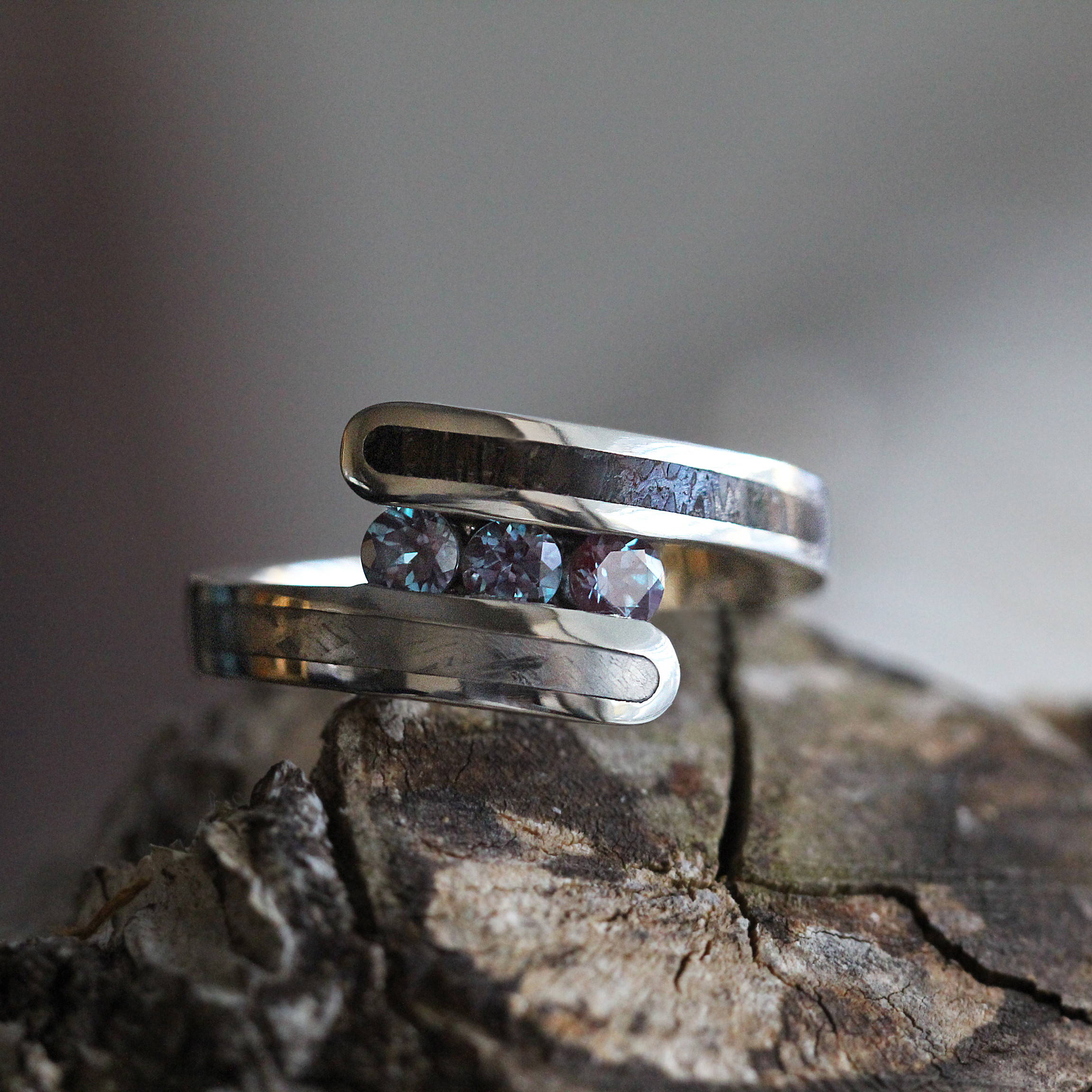ALEXANDRITE THREE STONE RING WITH DINOSAUR BONE IN 10K WHITE GOLD