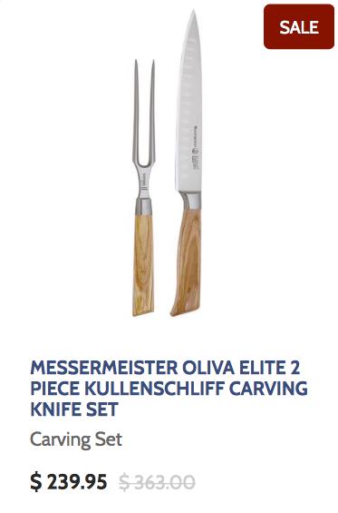 Messermeister Oliva Elite 2 Piece Kullenschliff Carving Knife Set with Olive Wood Handles