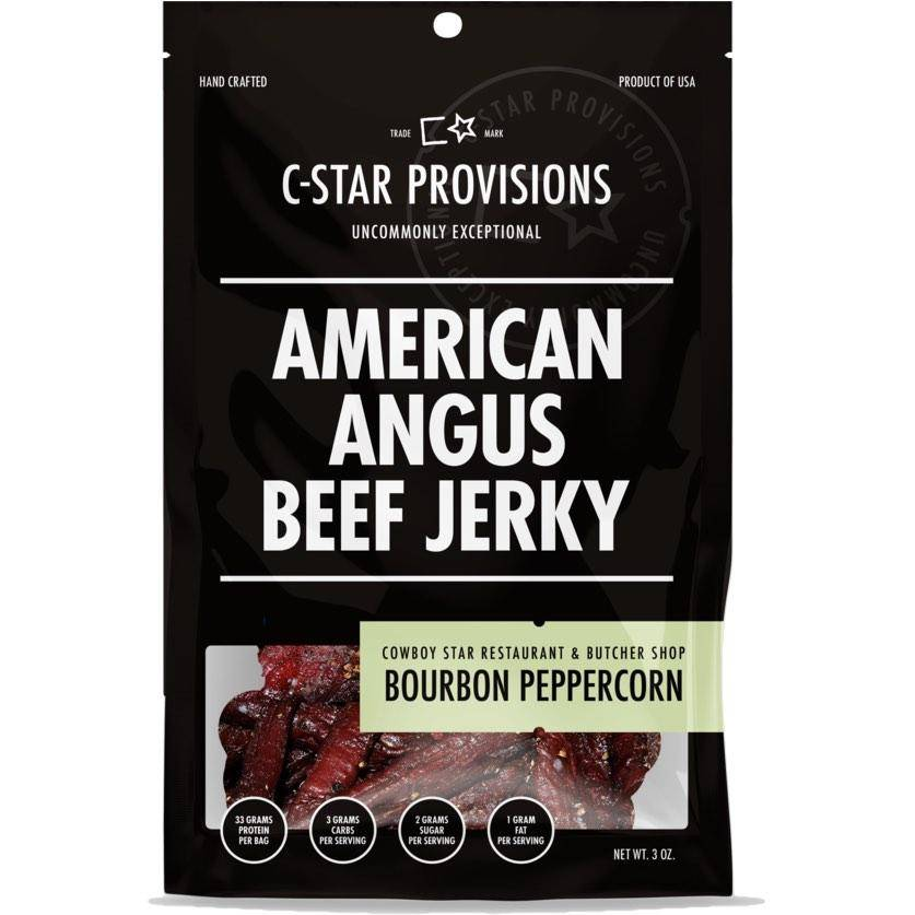 C-Star Provisions Angus Beef Jerky Bourbon Peppercorn