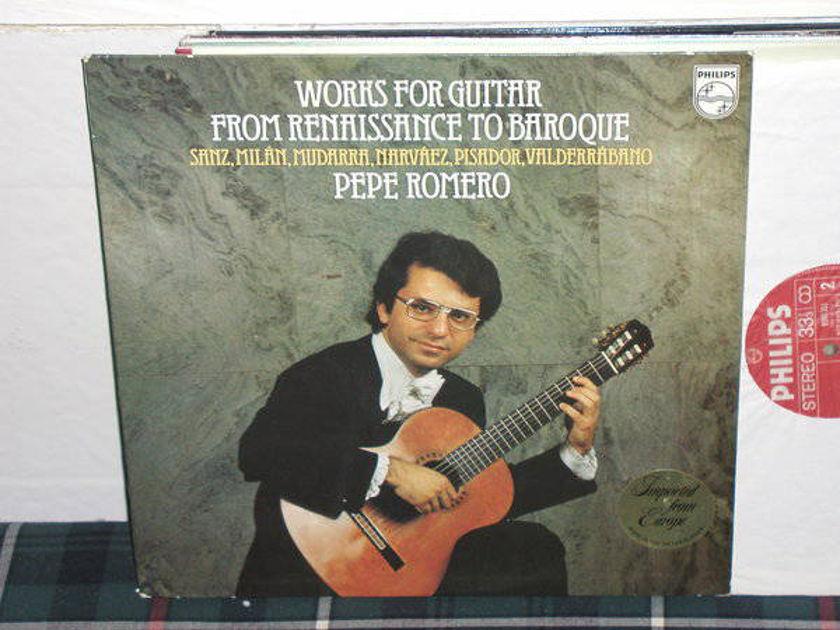 Pepe Romero - Sanz/Valderrabano Works For Guitar Philips Import Pressing 9500