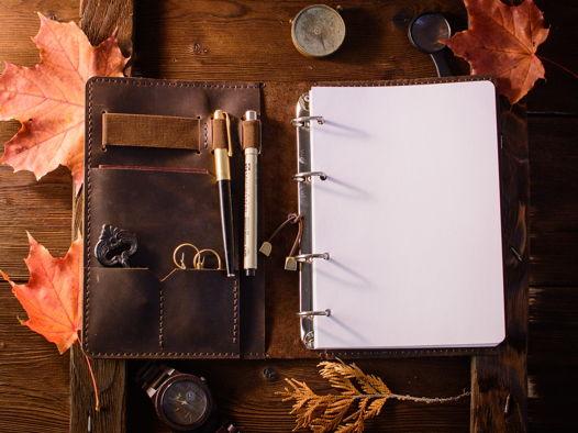Кожаный блокнот-органайзер на кольцевом механизме -LEGACY- формат А5 цвет Chocolate