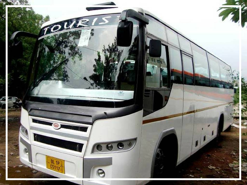 white and black mini bus for travel through golden triangle in india