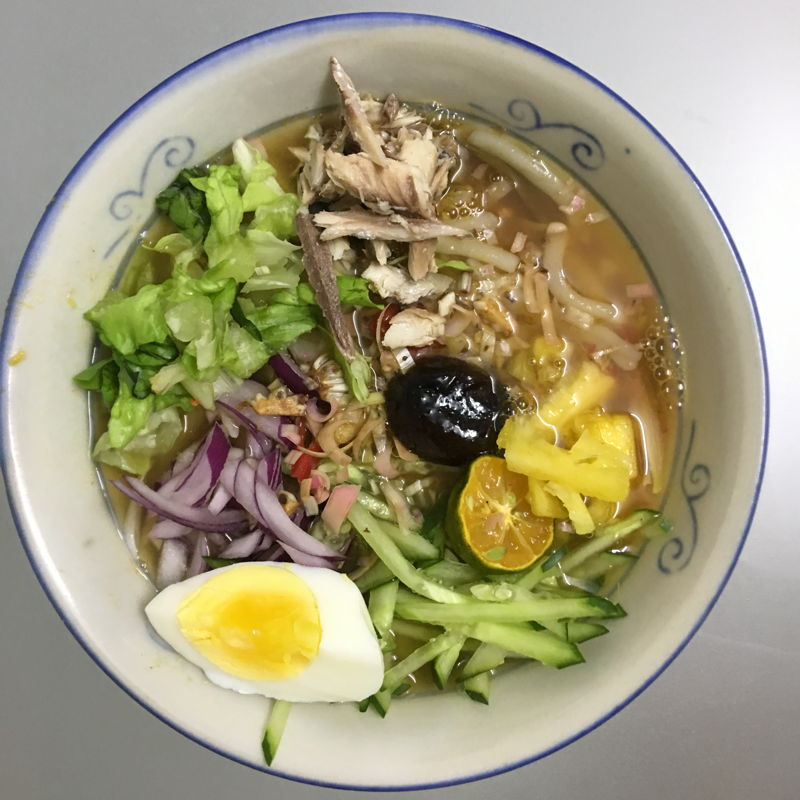 Nov 3rd, 2019 - Asam Laksa. The soup is yummy. I added torch ginger flowers, asam peels and eggs.  Used yao mak instead of lettuce. Feel self satisfying for learning another new recipe. Thanks husband for helping me with the veggies cutting and fish peeling. ;))  it shorten my preparation time.