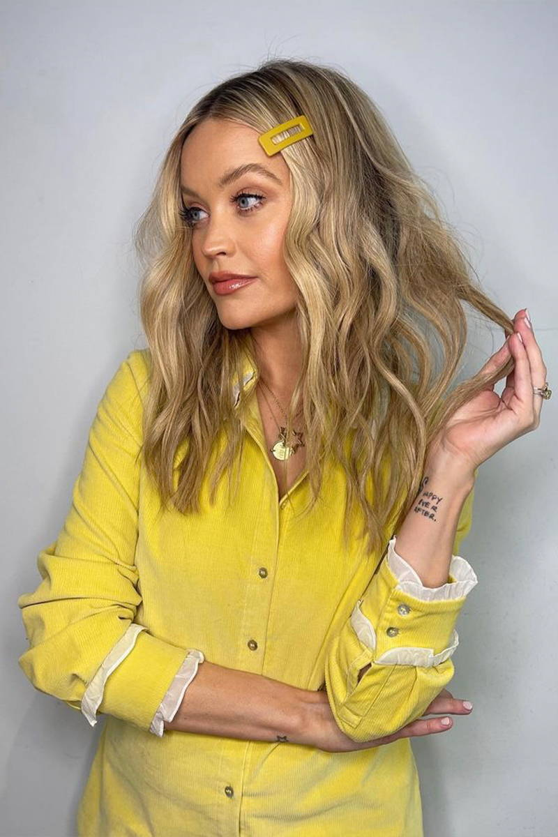 TV presenter and author, Laura Whitmore wearing YOLKE's Sunshine Corduroy Belle Blouse for TV appearance on Celebrity Juice