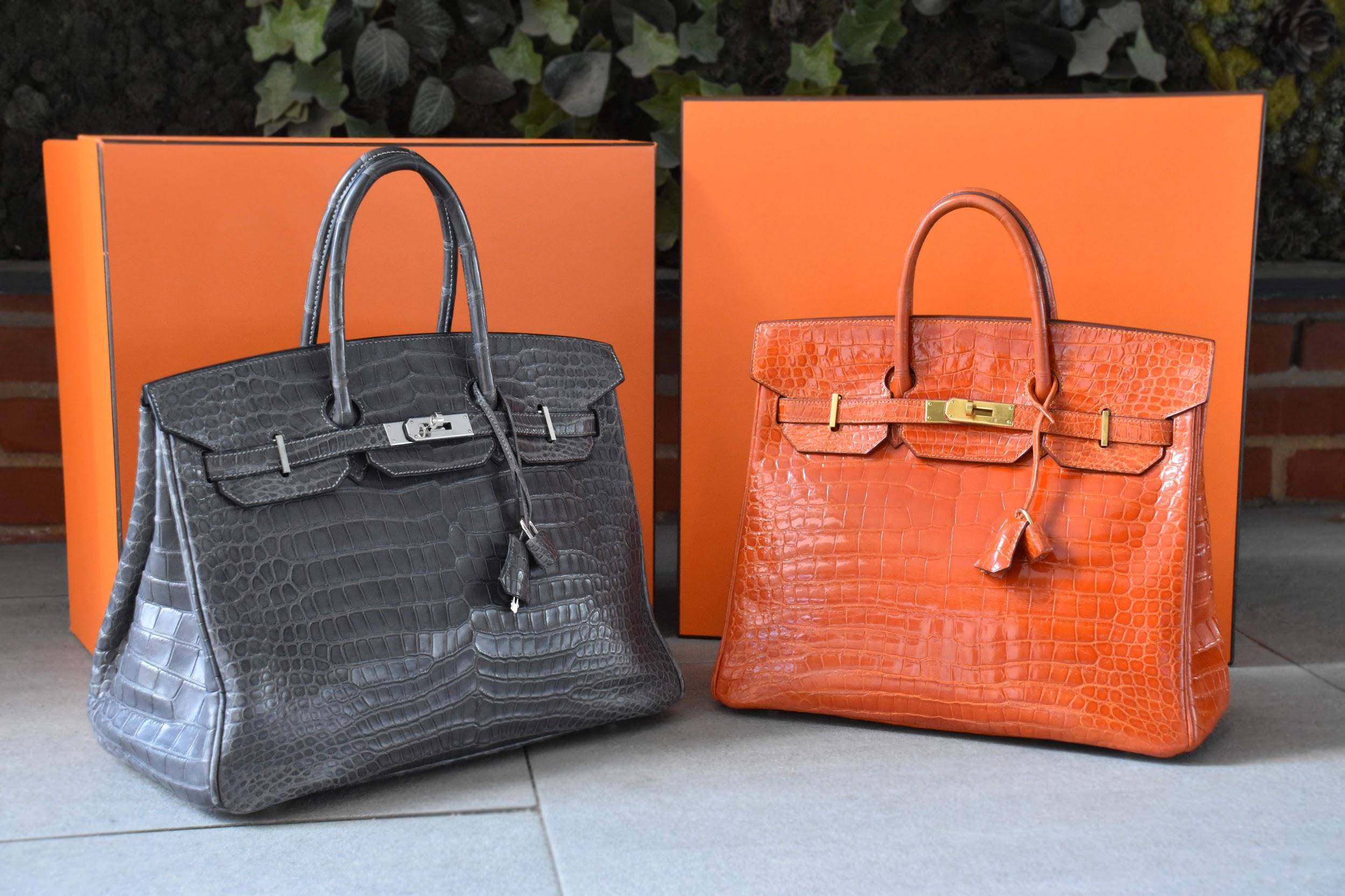 2 Hermes Birkin bags in Alligator Skin