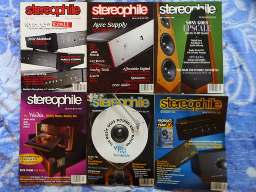 Stereophile mags - 1996 complete year