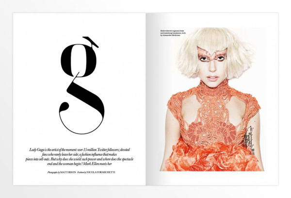 Lady gaga lowercase g in ELLE UK magazine
