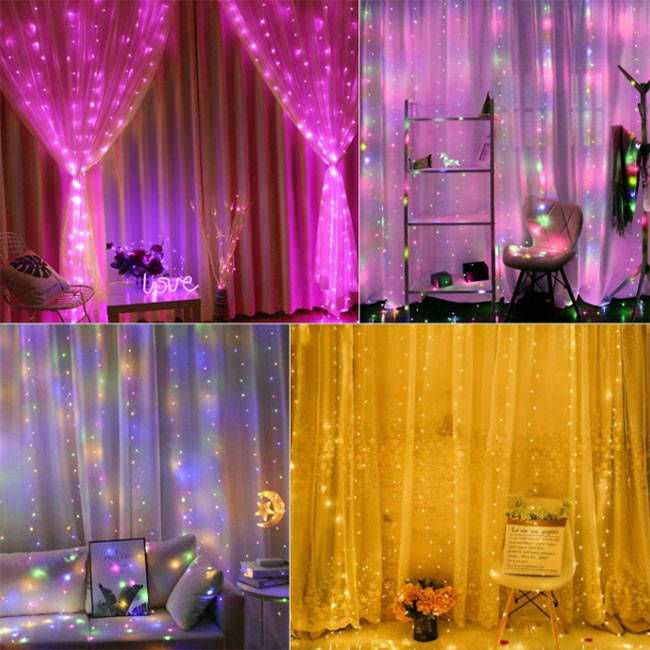 color changing led fairy lights curtain with 16 color effects and remote control