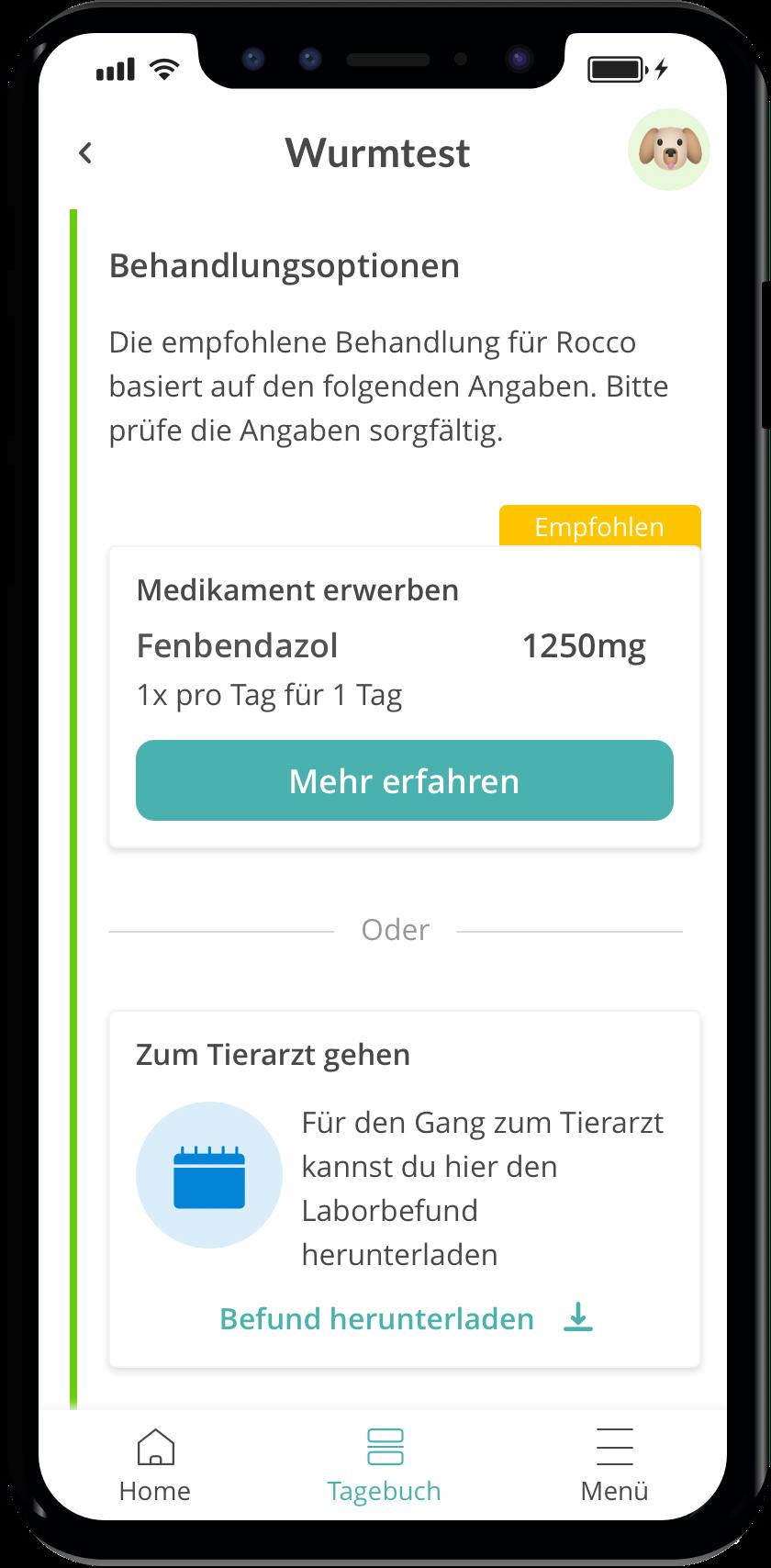 Ergebnis der Rassebestimmung deines Hundes auf die vetevo App